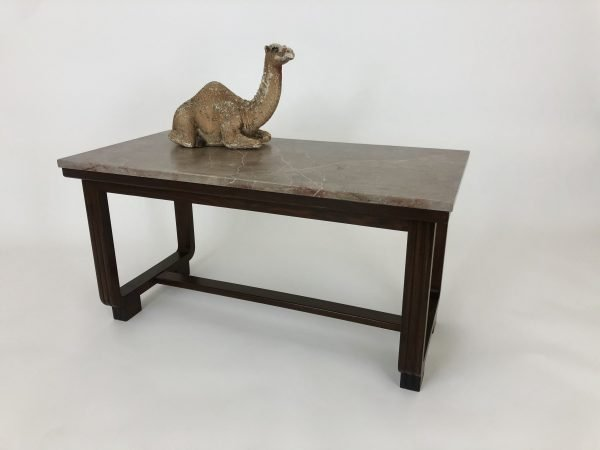 Dressed French Oak Coffee Table with Marble Top, Concrete Camel Displayed on Top